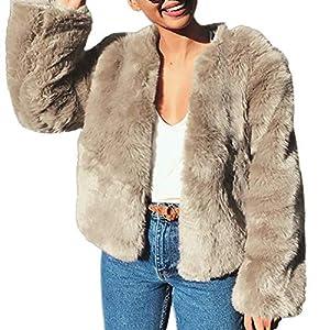 ropa de abrigo: Amphia Abrigo De Piel Suave, Abrigo Corto Cardigan Mujer Invierno Abrigo Abrigad...