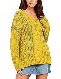 5f5479e94873 Artistic9-Kleidung Damen Pullover Langarm Sweatshirt V-Ausschnitt Herbst  Winter Pulli Casual Lose Strick
