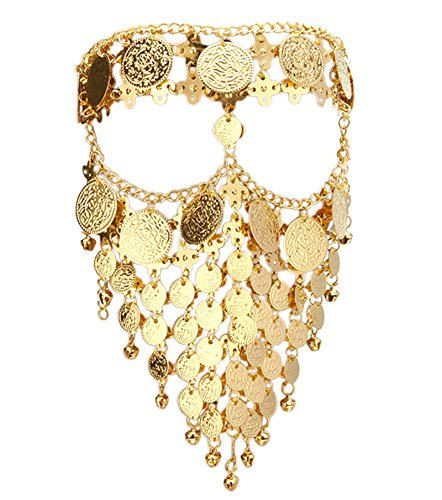 l Coin Veil Cosplay Face Chain Party Belly Dance Jewelry Gold ()