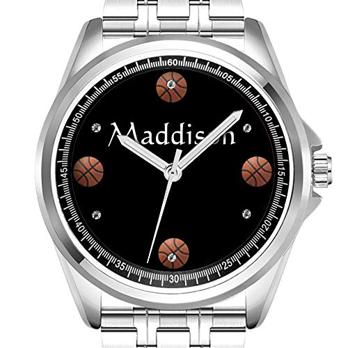 Personalisierte Herrenuhr Mode wasserdicht Uhr Armbanduhr Diamant 164.Basketball auf Schwarz mit Namen -
