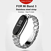 Mi band 3 Cinturino In Acciaio Inossidabile Braccialetto di Ricambio per Xiaomi Mi Band 3 Smart Miband 3 Braccialetto (Metallo argento,Activity Tracker non incluso)