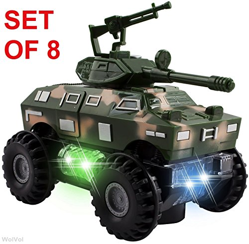 WolVol SET OF 8 Military Car Truck Toys with Lights and Sounds for Kids, Army Action with Bump & Go (Size of each vehicle is approximately 5″ x 3″)