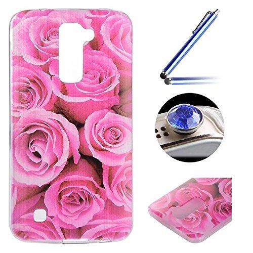 LG K10 TPU Coque étui,LG K10 Ultra-minces Silicone Doux Housse,Etsue Joli élégant Romance à Roses Peint Motif Design Souple Gel avec Transparent Cadre de Housse Coque Coquille pour LG K10 + 1x Bleu style + 1x Bling poussière plug (couleurs aléatoires) - Romance à Roses