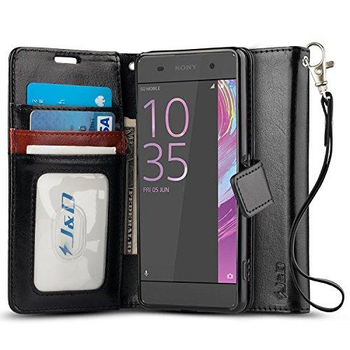 Xperia XA Hülle, J&D [Handytasche mit Standfuß] [Slim Fit] Robust Stoßfest Aufklappbar Tasche Hülle für Sony Xperia XA - Schwarz