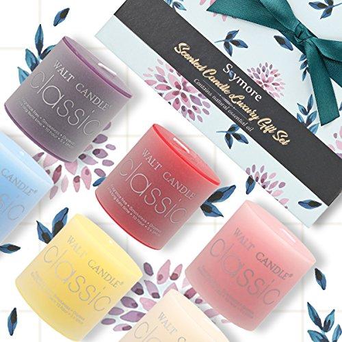 Bougies parfumées de Skymore, 100% Naturelles, Longue durée, Cadeau parfait pour votre famille, mariages, voyage, Set of essential oils candles