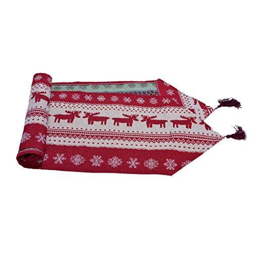 Weihnachten Gobelin Tischläufer Rentiere Und Schneeflocke W / Quaste Rot