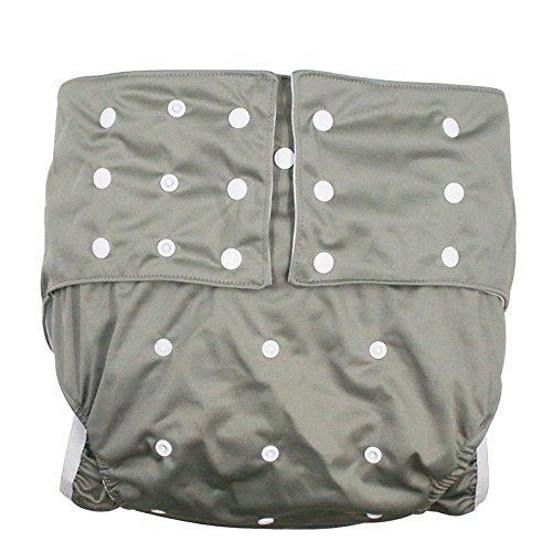 lukloy Hombres Adultos de pañales para incontinencia cuidado ropa interior de protección–doble apertura bolsillo lavable reutilizable leakfree para cintura ajustable grande tamaño 65~ 135cm) gris