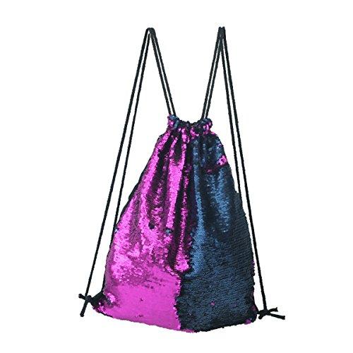 Tinksky Mode Glitter Bag Sackpack Pailletten Tunnelzug Rucksack (lila blau)
