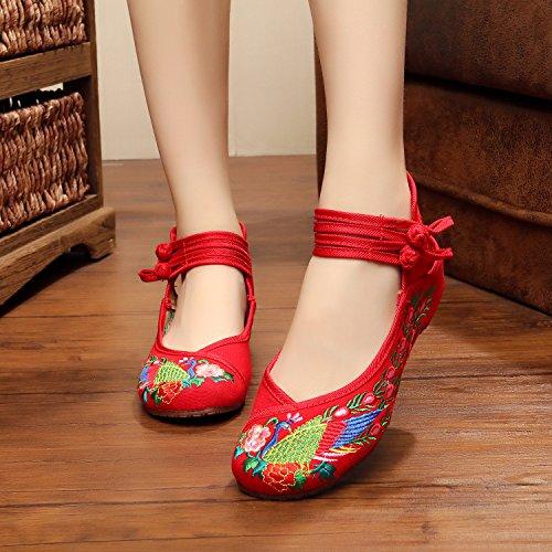 ZLL scarpe ricamate, unico tendine, stile etnico, femaleshoes, moda, comodi, scarpe da ballo Red