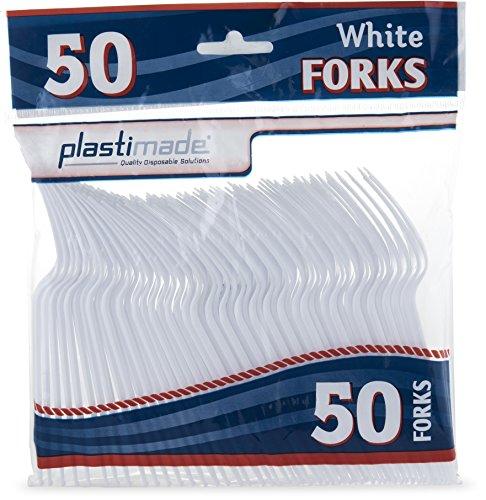 plastimade Besteck Hohe Gewicht Gabeln Kunststoff weiß 50Gabeln in einer Packung Fancy Gabeln