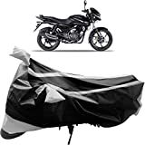 Adroitz Bike Body Cover for Bajaj Pulsar 150 (Black and Silver)