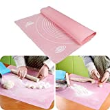 #9: PINDIA Cake Mat - Large Dough Pastry Silicone Rolling Work Mat With Measuring Guide For Sugarcraft Cake Decorating Silicone Fondant Rolling Mat, Multicolour with Measurements, Reusable Non-Stick Silicone Baking Mat