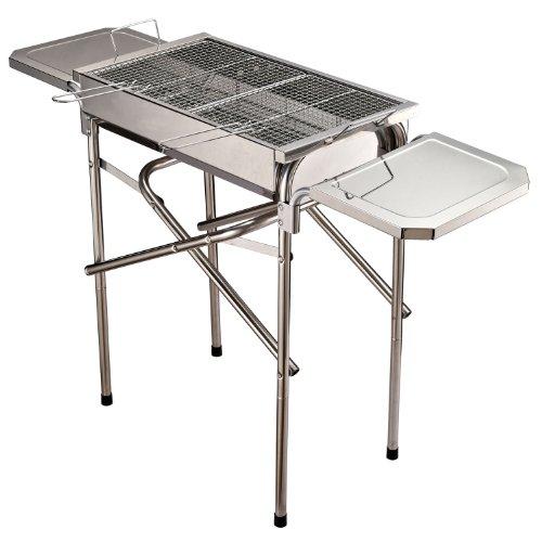Outsunny Barbecue a Carbonella Grill BBQ da Giardino Balcone con Piano d'Appoggio Esterno Acciaio Inox 104 × 30 × 68cm