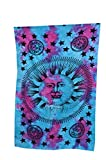 """Sun Moon Tapestry, Hippie Wall Hanging Indian Mandala Tapestry, The Finest Quality Bohemian Tie Dye Wall Decor Hippy Indian Sun Hippie Hippy Tapestry Wall Hanging Throw Cotton Bed Cover Bohemian Bed Decor Bed Spread Ethnic Decorative Art Table Cloth Multi-Color 85x55"""" by RoomyDeal"""