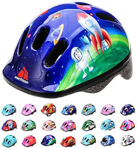 meteor Fahrrad-Helm Kinder-Jugend-helme: Radhelm Radsport Skateboard Inline-Skate BMX Scooter - Entwickelt für die Sicherheit der jüngsten Benutzer, COSMIC ROCKET, XS...