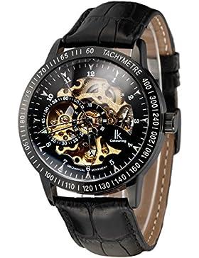 Alienwork IK mechanische Automatik Armbanduhr Skelett Automatikuhr Uhr Herren Uhren sport Zeitloses Design Leder...