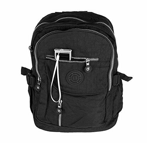 OBC Unisex Erw. & Kinderrucksack Rucksack Schultertasche Tasche Canvas Nylon Tablet bis ca. 10 Zoll (Taupe) Schwarz 36x30x15cm