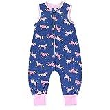 TupTam Baby Unisex Winter Schlafsack mit Beinen, Farbe: Einhorn Dunkelblau/Rosa, Größe: 80-86