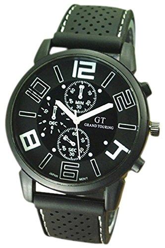 Reloj de pulsera - GT Reloj de pulsera de acero inoxidable de silicona ocasional para hombres de color blanco