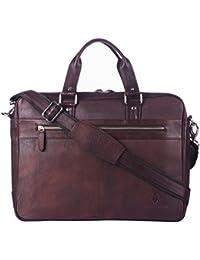 WildHorn 100 % Genuine Leather Brown 16 Inch Laptop Messenger Bag For Men DIMENSION : L-16 Inch W-3 Inch H-12...