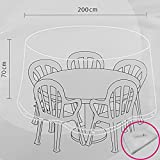 Power-Preise24 Wetterschutzhülle für Rundtische mit Stühlen 200 x 70 cm Abdeckhaube aus Polyäthylen-Gewebe Schutzhaube für Gartentische witterungsbeständig und UV-stabilisiert