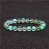 SHOUZ Pulsera Pulsera de Piedra de Luna Natural Anillo Único Cadena de Mano Cristal Azul Pulsera de Luz de Luna Pulsera de Labradorita Joyería