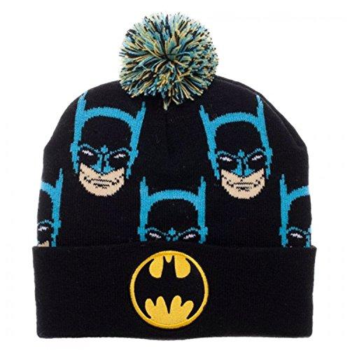 Beanie Cap - Batman - Faces Cuff Pom New Licensed kc4g9ebtm