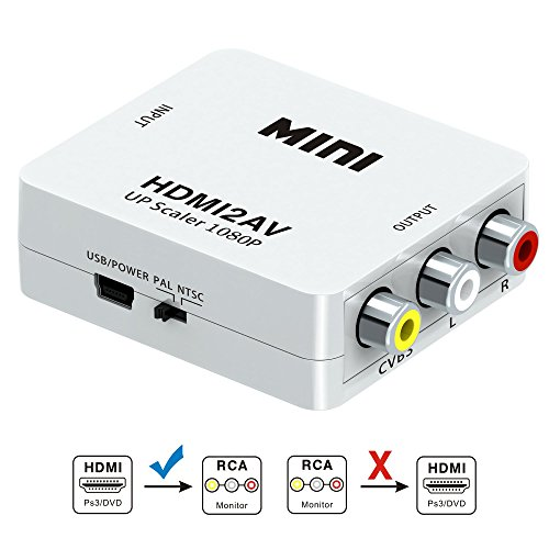 HDMI auf AV Konverter, GANA HDMI zu AV RCA CVBS Composite Video Audio Konverter Adapter Wandler 1080P für TV/PS3/VHS/VCR/DVD(Weiß) (Composite Video Zu Hdmi Konverter)