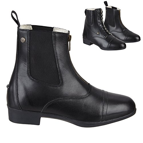 Stiefelette »BOSTON ADVANCED FZ WINTER« mit Reißverschluss vorne. Bequeme Boots aus Echtleder | Robuster Reitschuh mit Gummisohle und Fell | Stiefel Gr. 35-45 Fallen kleiner aus | Farbe: Schwarz (Stretch-stiefel Womens Tall)