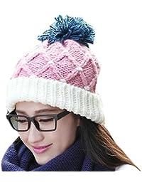 Smarstar Chapeau Hiver chaud tricot crochet Slouch Baggy Beret Bonnet Cap-Bonnet 1 pompons -Taille Unique