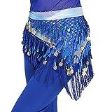 LaoZanA Donna Danza del Ventre Costume Hip Sciarpa Wrap Gonna con paillettes Taglia unica Blu zaffiro