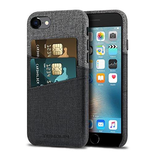 TENDLIN iPhone 7 Hülle iPhone 8 Hülle Leder Tasche Brieftasche Hülle mit 2 Kartenhalter Slots für iPhone 7 und iPhone 8 (Schwarz) -
