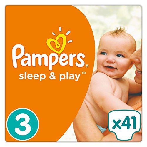 Pampers Sleep & Play Windeln, Gr. 3 (5-9 kg), Einfach trocken, 1er Pack (1 x 41 Stück)