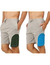 Clifton Men's Shorts MB04 Pack Of 2-Grey Melange-Bottle Green-Grey Melange-Dark Blue