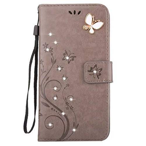 YOUNGE IPhone 7 Plus Case for iPhone 7 Profession Case Pocketbook Cover Fashionable Pure Color Butterfly Sign PU Leather Upper Picture Booklet Card Pocket iPhone 7 Plus Wallet Cover Stand Function Shockproof Dustproof Durability Easy to Install Adsorption Function Glittery Butterfly Swarovski - Rhinestone Deco (Gray)