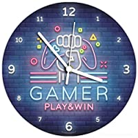 SuperDuperDecor VIDEO GAMER CLOCK neon style - childrens boys girls bedroom game room wall decor - any theme available - GAMER