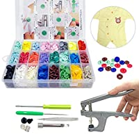 SUNTATOP 360 Sets T5 Plastic Buttons Fasteners Snap Button + Snap Plier Kit for All Kinds Clothes DIY(24 Colors, Plier for T3, T5, T8)