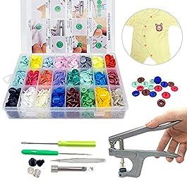 SUNTATOP Pinze a Scatto + Set 360 Bottoni in Resina T5 Bottoni a Pressione in Resina Fai da Te 24 Colori (Set di…