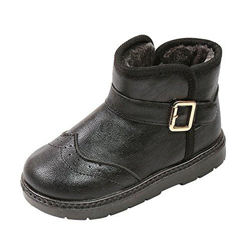 SITAILE Kinder Winterstiefel Schneestiefel Warme Rutschfeste Leder Stiefel Boots Kinderschuhe für Mädchen Jungen Outdoor Winter,Schwarz,35