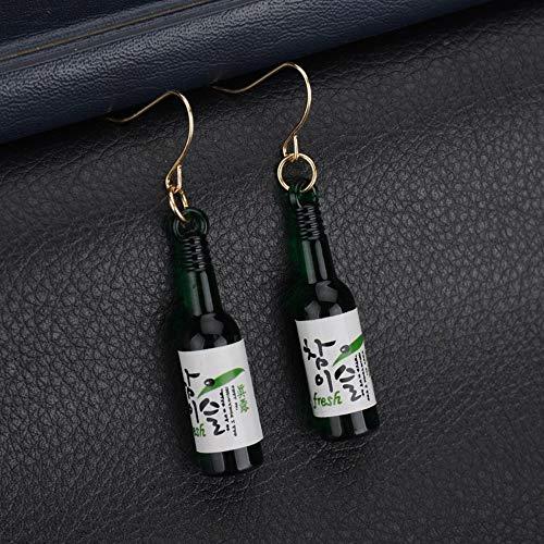 XAFXAL Damen Ohrringe, Persönlichkeit Shochu Bier Flasche Studenten Cute Ohrhänger Für Frauen Weibliche Schmuck Grün - Mickeys Bier
