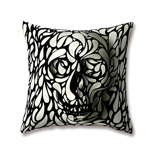 (Hengjiang Weicher Plüsch mit Kunst-Totenkopf mit Rock-Ghost Specter Malen 18x 18/45x 45cm aus Weichem Plüsch mit Deko-Kissenbezug für Zuhause Sofa Bett, Polyester, 03, 45 cm*45 cm)