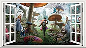 Alice in Wonderland Full Colour Magic Window Image Wall Sticker Mural Poster size 1000mm wide x 600mm deep (large)