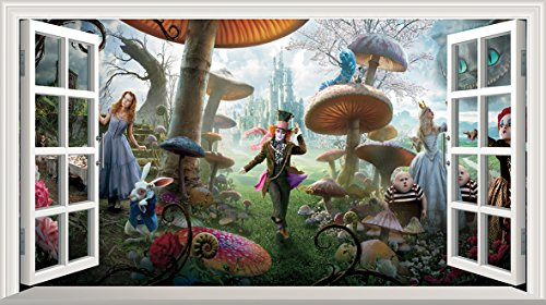 Alice in Wonderland Full Colour Magic Window Image Wall Sticker Mural Poster size 1000mm wide x 600mm deep (large) by Alice in Wonderland (Alice Im Wunderland-wand-aufkleber)
