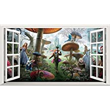 Alice in Wonderland Full Colour Magic Window Image Wall Sticker Mural Poster size 1000mm wide x 600mm deep (large) by Alice in Wonderland