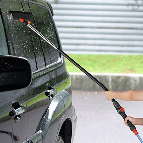 Finether Waschbürste Autowaschbürste mit stiel, Wasserventilschalter um den Wasserdurchlauf einzustellen | Auto Bürsten für LKW, PKW, KFZ, Wohnwagen, Fenster, Boden