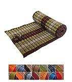 Traditionelle Thai-Sitzmatte aus Kapok, aufrollbar, für Yoga, Massage oder Entspannung Green, Brown