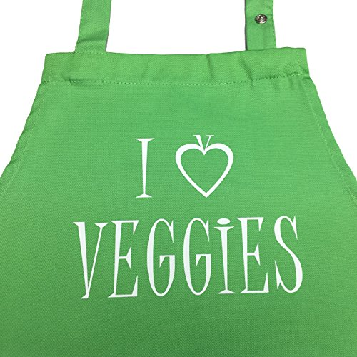 I love Veggies - Kochschürze für Vegetarier, Veganer mit verstellbarem Nackenband und Seitentasche (vegetarisch kochen) (Druck Vegetarische Kochen)