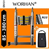 WORHAN® Double Telescopic Ladder 3.8m WITH ALUMINUM RINGS Foldable Extendable Multipurpose Aluminium A Frame Robust