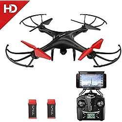 Potensic Drone con Cámara 720P HD Camera WiFi FPV 2.4Ghz Drone U48WH WiFi FPV 2.4Ghz, Control Remoto Función de Suspensión de Altitud, Modo sin Cabeza, 3D Flips con Tarjeta de Memoria 4G