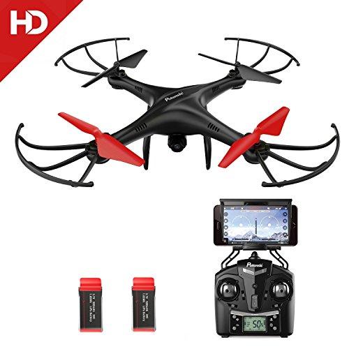 Potensic Drone con Telecamera 720P HD Camera WiFi FPV 2.4Ghz Drone U48WH WiFi FPV 2.4Ghz, Telecomandato Funzione di Sospensione Altitudine, Modalità senza testa, 3D Flips con Scheda di Memoria di 4G
